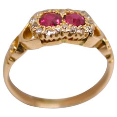 Victorian 18 Carat Gold 2-Stone Ruby and Diamond Cluster Ring, circa 1895