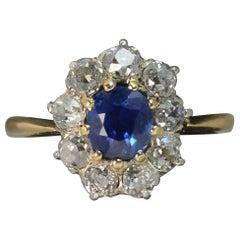 Victorian 18 Carat Gold No Heat Sapphire Old Cut Diamond Ring