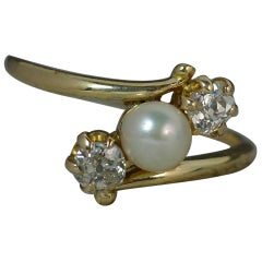Victorian 18ct Gold Pearl and 0.5 Carat Old Cut Diamond Trilogy Ring on Twist