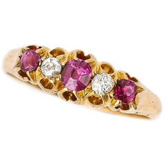 Victorian 18ct Yellow Gold Ruby and Diamond Five Stone Ring, Circa 1894