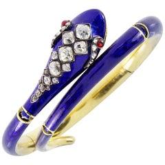 Victorian 18K Gold and 3 Carat Old Mine Cut Diamond Blue Enamel Snake Bangle