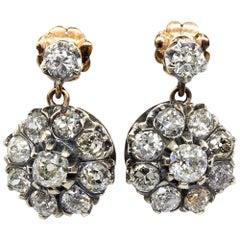 Victorian 18 Karat Gold and Silver Diamonds Earrings