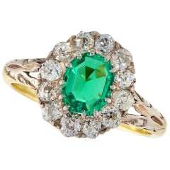 Victorian 18 Karat Gold Columbian Emerald Diamond Cluster Antique Ring