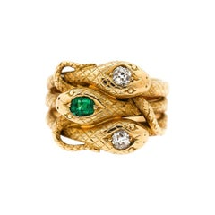 Victorian 18 Karat Gold Diamond Emerald Engraved Triple Snake Ring