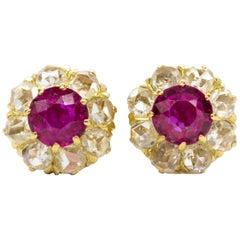 Victorian 18K Gold Rubies and Diamonds Earrings