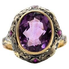 Victorian 18 Karat Gold and Silver Amethyst Ring