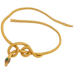 Victorian 18K Snake Necklace with Emerald Head and Eyes