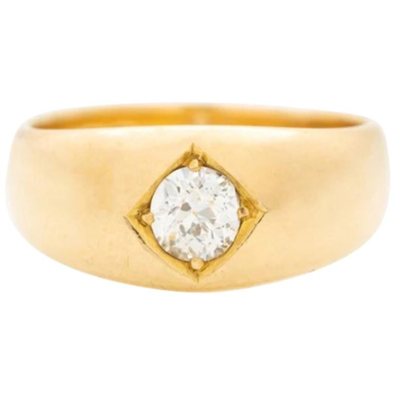 Victorian 18 Karat Gold and 0.75 Carat Old European Cut Diamond Gypsy Ring