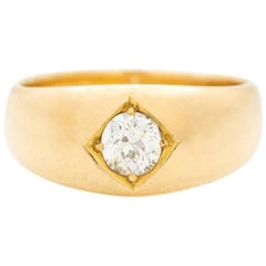 Victorian 18 Karat Gold and 0.75 Carat Old European Cut Diamond Gypsy Ring