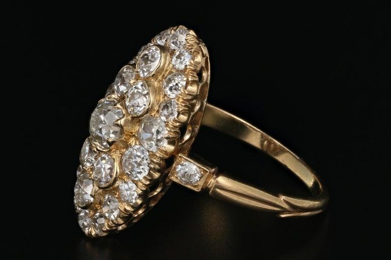 Old Mine Cut Victorian 18 Karat Yellow Gold 2.33 Carat Diamond Navette Ring For Sale