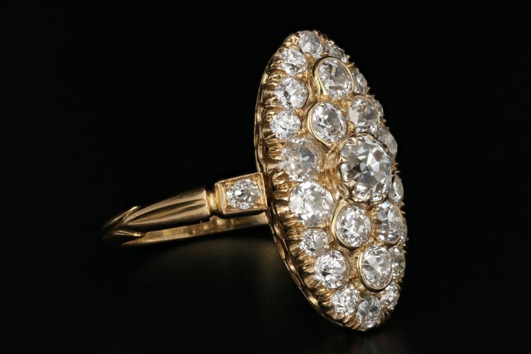 Victorian 18 Karat Yellow Gold 2.33 Carat Diamond Navette Ring In Good Condition For Sale In Cape May, NJ