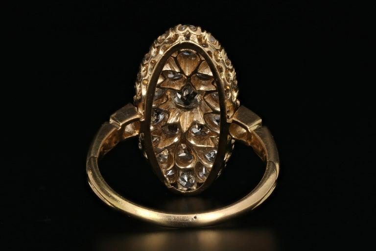 Women's or Men's Victorian 18 Karat Yellow Gold 2.33 Carat Diamond Navette Ring For Sale