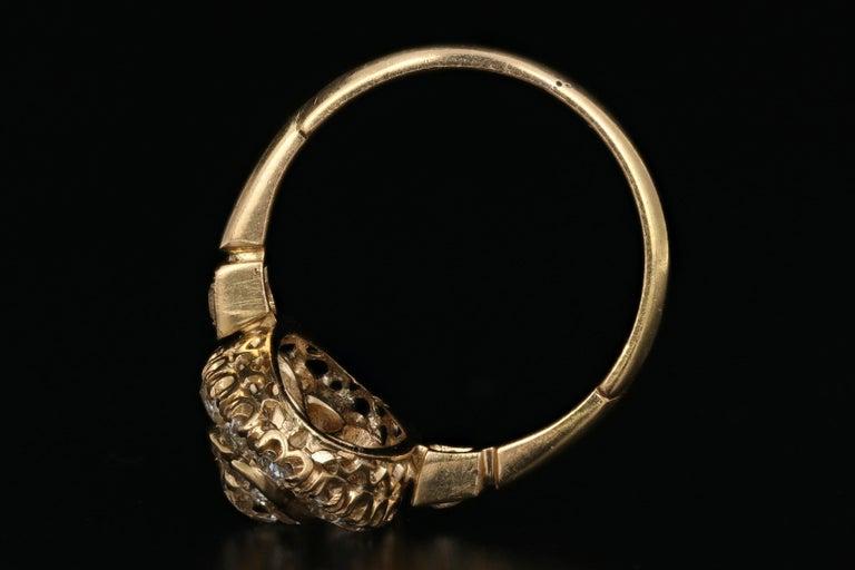 Victorian 18 Karat Yellow Gold 2.33 Carat Diamond Navette Ring For Sale 1