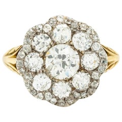 Victorian 18K Yellow Gold and 2.0 Old European Cut Diamond Cluster Ring C.1880S