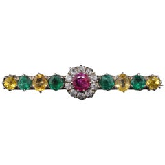 Victorian 18 Karat Gold Diamond Burmese Ruby, Emerald and Yellow Sapphire Brooch