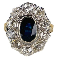 Victorian 18K Yellow Gold Oval 1ct Sapphire Old Cut Diamond Cluster Ring