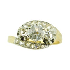 Victorian 18k Yellow Gold Rose Cut Genuine Natural Diamond Ring '#J5009'