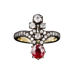 Victorian 18K Yellow Gold Silver Top 1 Carat Natural Ruby and Diamond Ring Size