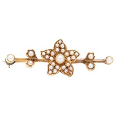 Victorian 18 Karat Yellow Gold and Split Pearl Floral Bar Brooch