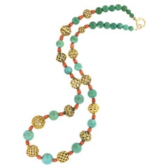 Victorian 18kt, Coral, and Turquoise Beaded Compilation Necklace