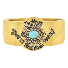 """Victorian 18kt Diamond + Turquoise """"Dieu vous voit"""" Bangle Bracelet"""