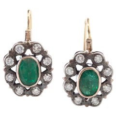 Victorian 18kt Gold and Silver Ladies Earrings with Natural Emerald and Diamonds