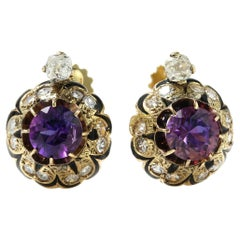 Victorian 18kt Yellow Gold Ladies Screw-Back Earrings with Natural Amethyst