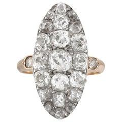 Victorian 1900s 18 Karat Yellow Gold Long Diamonds Ring