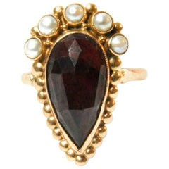 Dutch 14 Karat Yellow Gold Garnet Pearl Ring