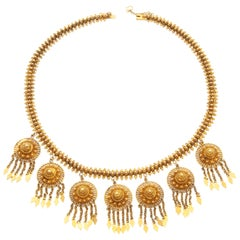Etruscan Revival 18 Karat Yellow Gold Filigree Pendant Necklace