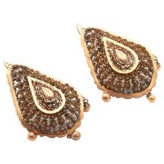 Victorian 1900s Filigree 14 Karat Yellow Gold Drop Earrings