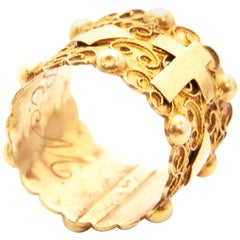 Victorian 1900s Solid 14 Karat Yellow Gold Filigree Band Ring