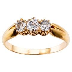 Victorian 1900s Three-Stone Diamond Gold Ring