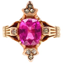 Victorian 1.91 Carat Pink Sapphire and Diamond Gold Ring Estate Fine Jewelry