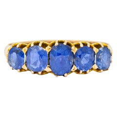 Victorian 1.92 Carat Sapphire 14 Karat Gold Five-Stone Band Ring