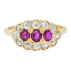 Victorian 1.93 Carat Diamond Ruby 14 Karat Gold Cluster Ring