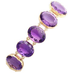 Victorian 193.38 Carat Amethyst and Yellow Gold Bracelet