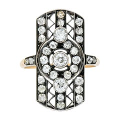 Victorian 1.98 Carat Diamond Silver-Topped 14 Karat Gold Dinner Ring