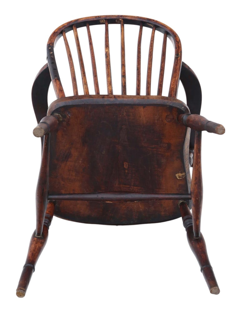Victorian 19th Century Ash Elm Yew Windsor Chair Dining Armchair 7