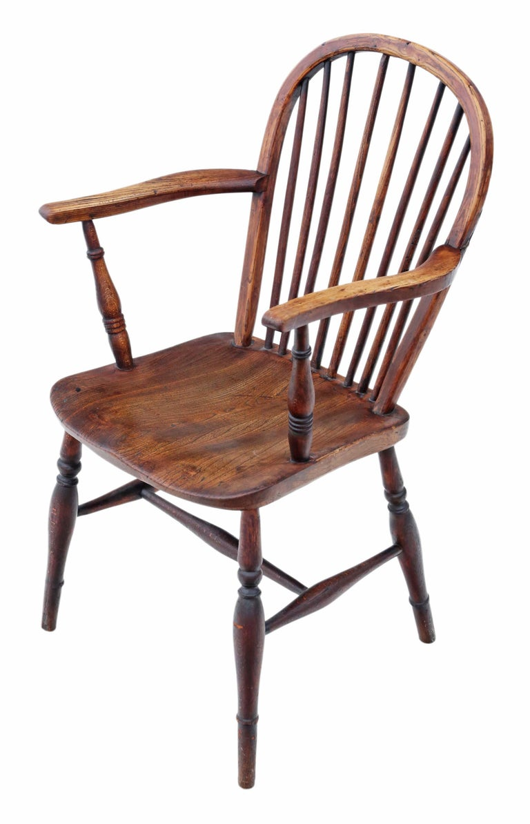 Victorian 19th Century Ash Elm Yew Windsor Chair Dining Armchair In Good Condition In Wisbech, Cambridgeshire