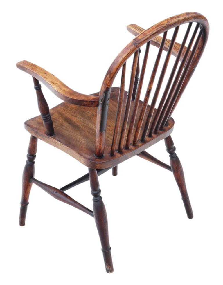 Victorian 19th Century Ash Elm Yew Windsor Chair Dining Armchair 1