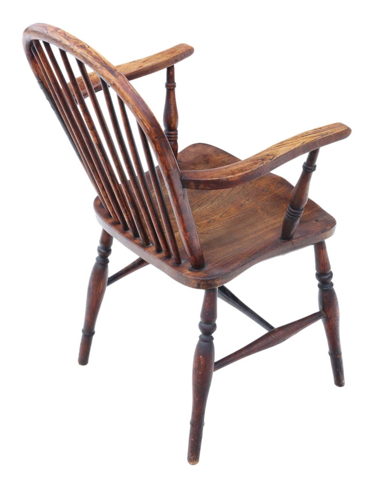 Victorian 19th Century Ash Elm Yew Windsor Chair Dining Armchair 2