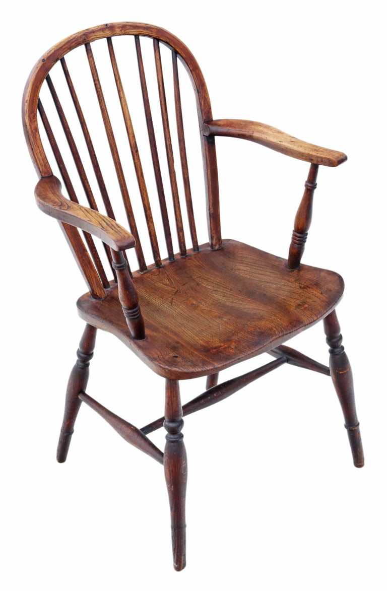 Victorian 19th Century Ash Elm Yew Windsor Chair Dining Armchair 3