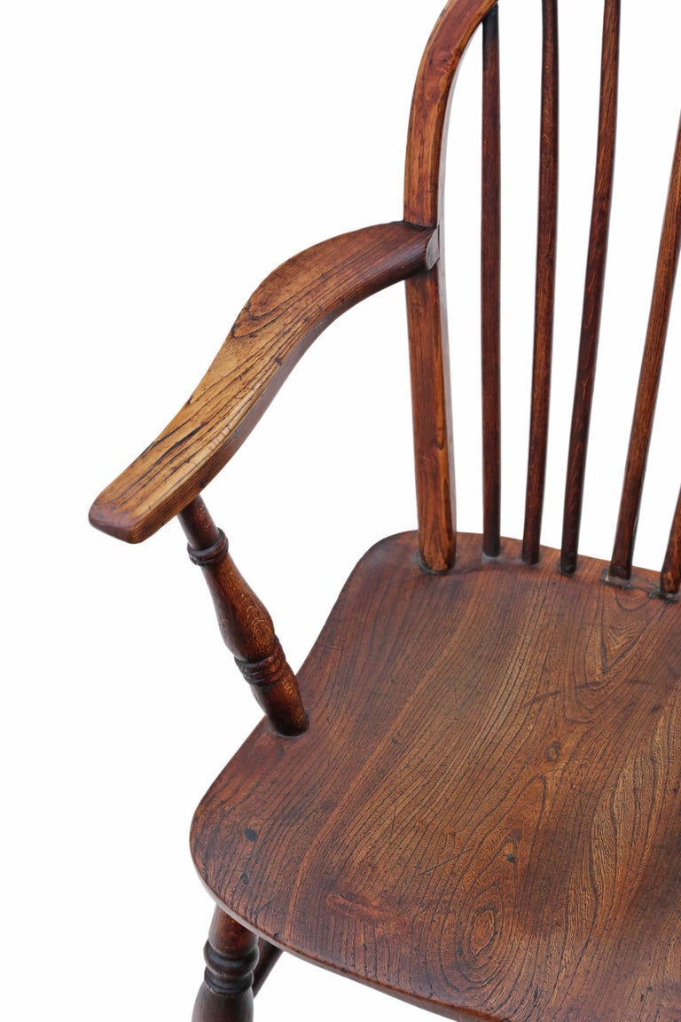 Victorian 19th Century Ash Elm Yew Windsor Chair Dining Armchair 5