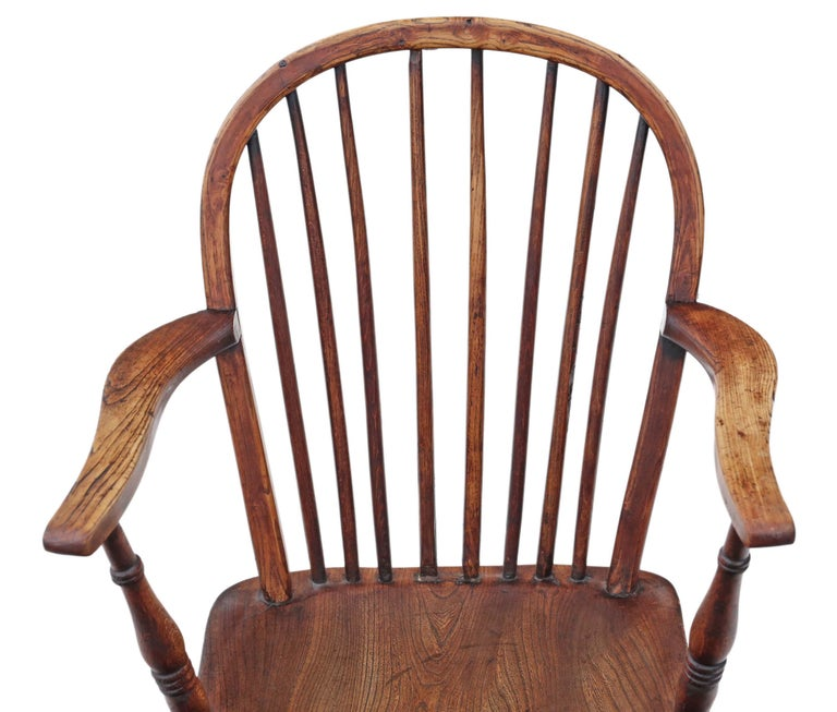 Victorian 19th Century Ash Elm Yew Windsor Chair Dining Armchair 6