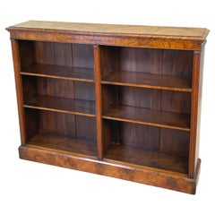Victorian 19th Century Burr Walnut Dwarf Open Bookcase