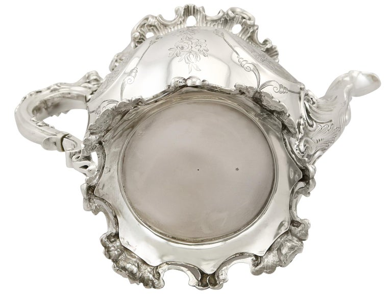 Victorian 19th Century English Sterling Silver Teapot For Sale 11