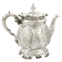 Victorian 19th Century English Sterling Silver Teapot