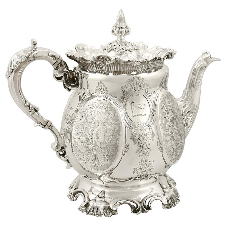 Victorian 19th Century English Sterling Silver Teapot For Sale