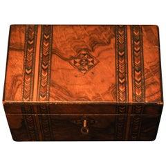 Victorian 19th Century Tunbridge Ware Tea Caddy with Original Features
